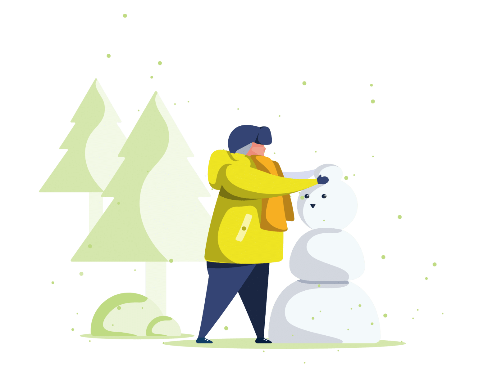Barn leget i sne